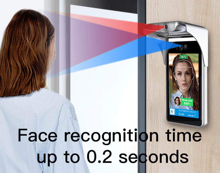 Wall-Mounted 8-Inch Face Recognition Thermometer