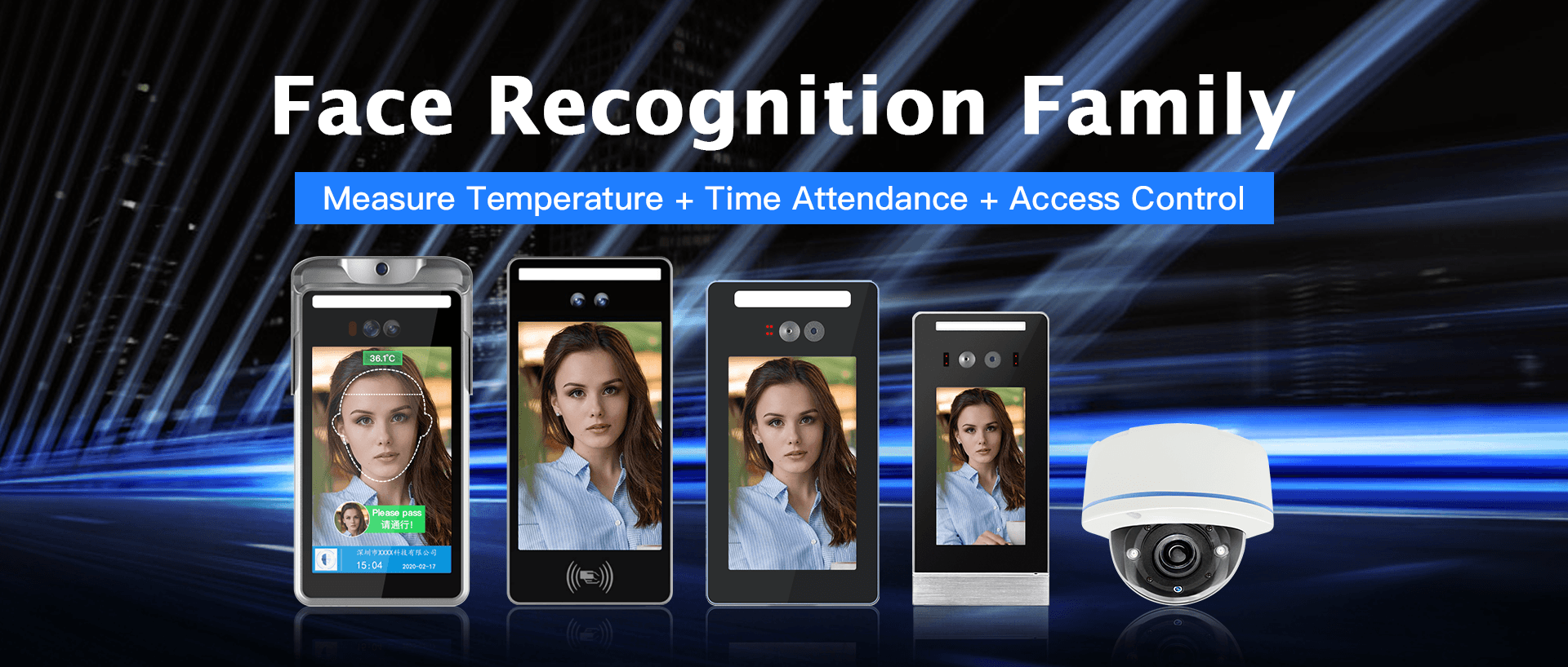 Face Recognition Family, Measure Temperature + Time Attendance + Access Control