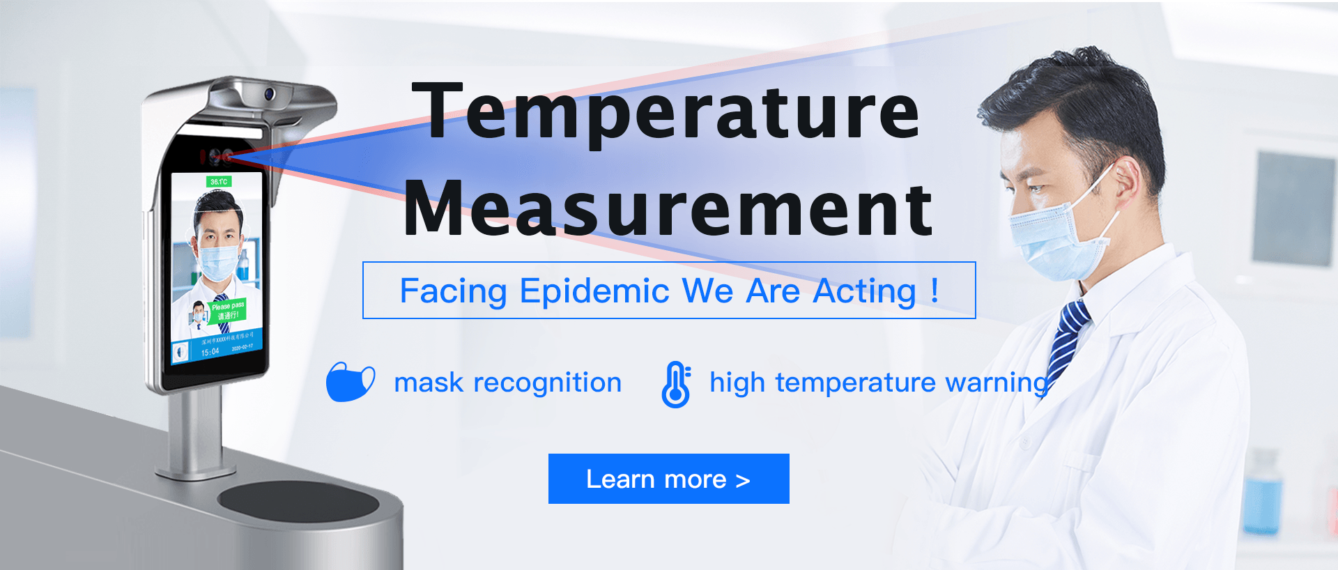 Temperature Measurement, Facing Epidemic We Are Acting! mask recognition, high temperature warning